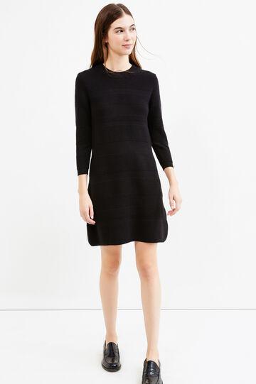Short dress with three-quarter sleeves, Black, hi-res