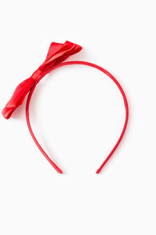 Hairband with bow, Red, hi-res