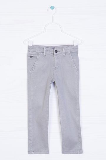 Pantaloni chino cotone stretch, Grigio chiaro, hi-res