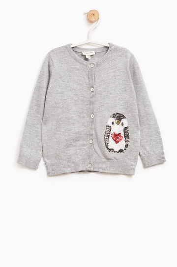 Cardigan misto lana con paillettes, Grigio melange, hi-res