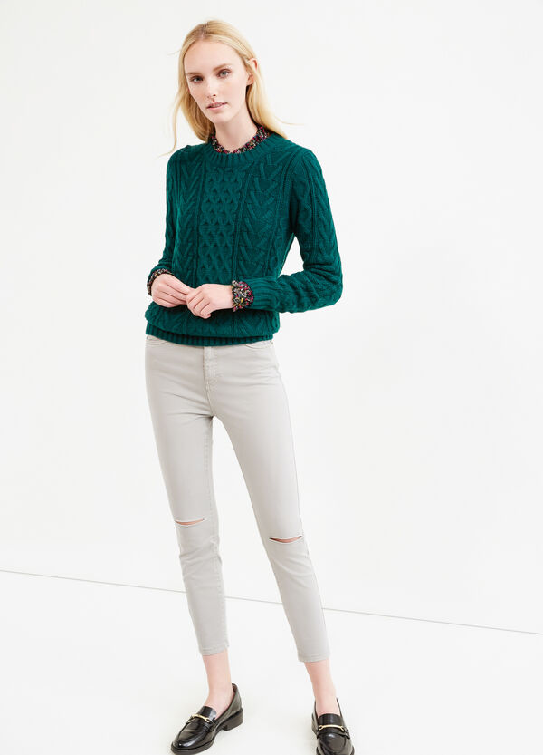 Solid colour stretch trousers with rips   OVS
