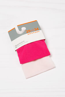 Two-pair pack solid colour pop socks, Fuchsia, hi-res