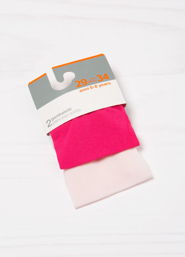 Two-pair pack solid colour pop socks   OVS