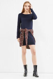 Viscose and cotton dress with ribbing, Blue, hi-res
