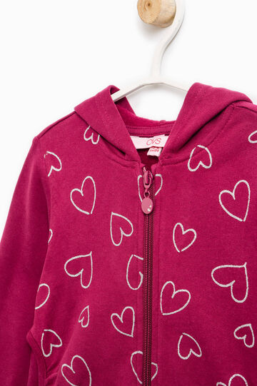 Cotton hoodie with glitter hearts print, Purple, hi-res