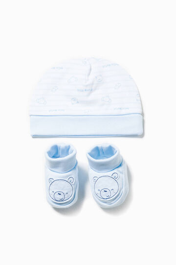 Striped hat and shoes set with patch
