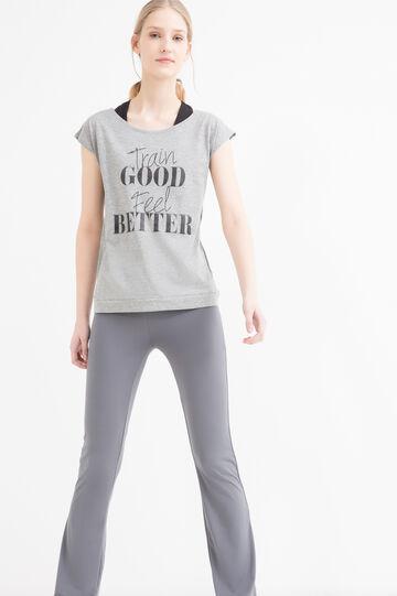 T-shirt sportiva stampa lettering, Grigio melange, hi-res