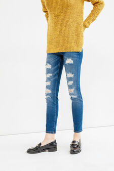 Ripped, skinny fit jeans, Dark Blue, hi-res