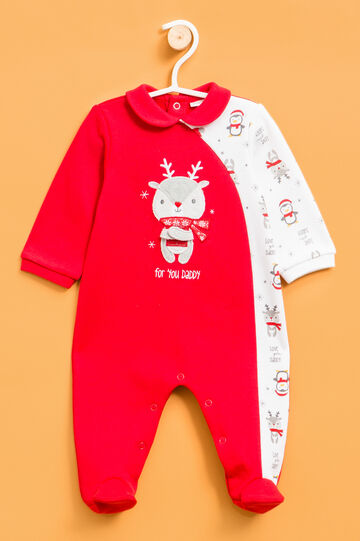 Sleepsuit with reindeer patch., White/Red, hi-res