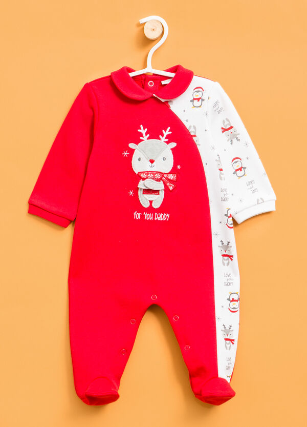 Sleepsuit with reindeer patch. | OVS