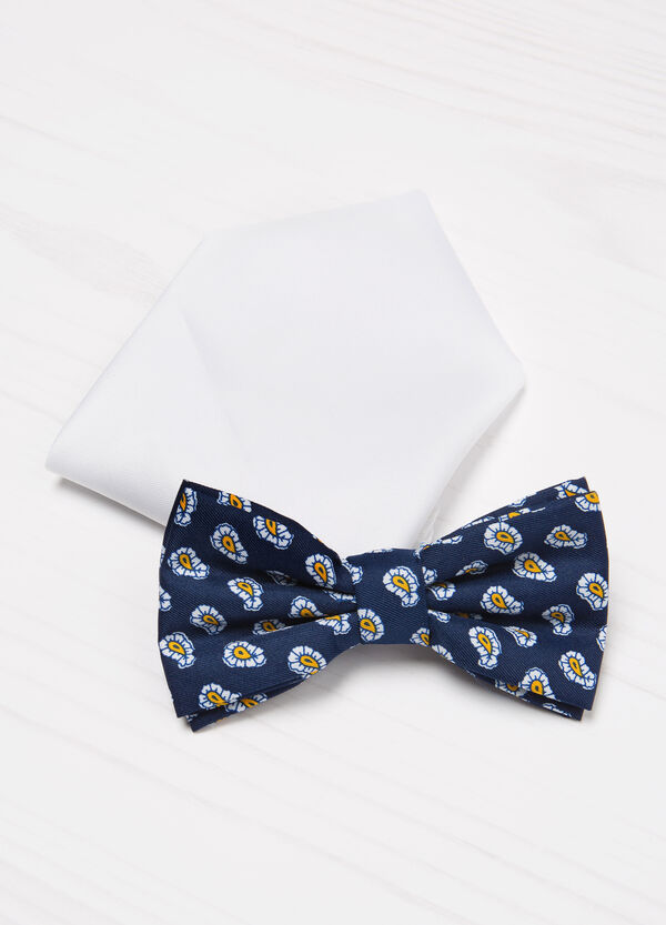 Patterned bow tie and pocket handkerchief set. | OVS