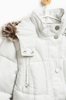 Solid colour down jacket with hood, Ice White, hi-res