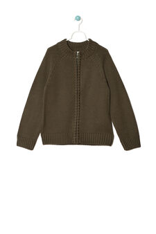 Cotton blend pullover with zip, Army Green, hi-res
