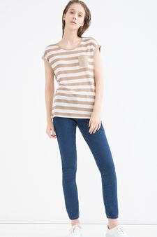 Linen blend striped T-shirt, White/Brown, hi-res