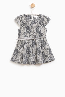Lace dress with belt, Grey Marl, hi-res