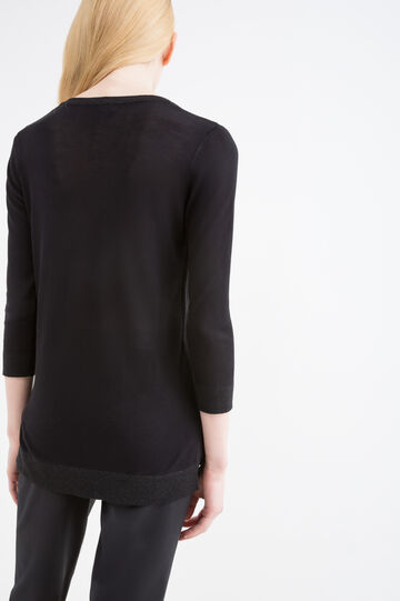 100% viscose pullover with lurex, Black, hi-res