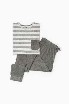 Striped cotton blend pyjamas, Light Grey, hi-res