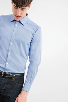 Slim-fit formal shirt with micro pattern, Blue, hi-res