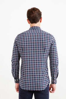 Slim-fit check Rumford shirt in cotton, Blue/Green, hi-res