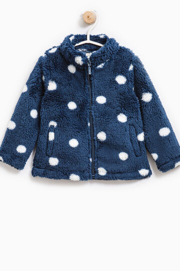 Faux fur sweatshirt with pattern, Navy Blue, hi-res