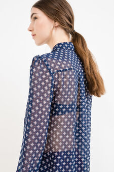 Semi-sheer shirt with all-over print, Blue, hi-res