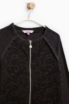 100% cotton sweatshirt with lace, Black, hi-res