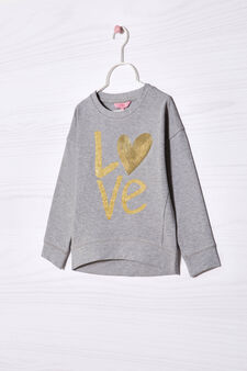 Sequin and glitter stretch sweatshirt, Grey Marl, hi-res