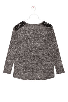 Mélange T-shirt with lace insert, Grey Marl, hi-res