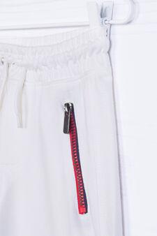 Solid colour 100% cotton Bermuda shorts, White, hi-res