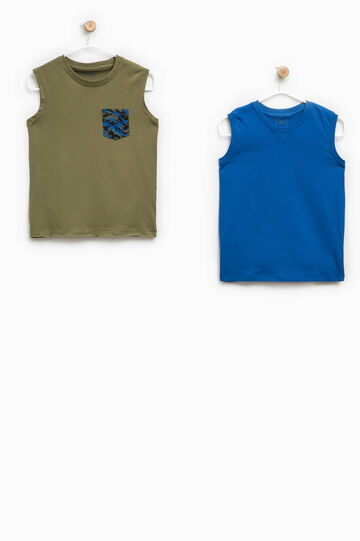 Two-pack vests with round neck