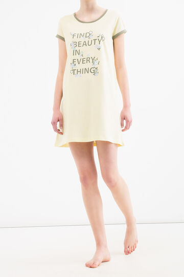 Nightdress with lettering print, Yellow, hi-res