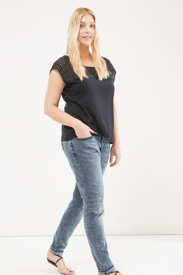 Curvy stretch jeans with rip, Denim, hi-res