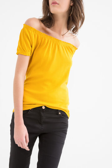 Solid colour T-shirt in 100% cotton, Yellow, hi-res