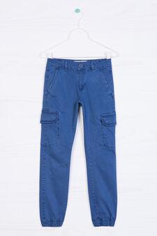 Stretch cotton cargo pants, Deep Blue, hi-res