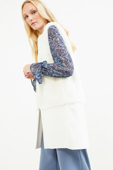 Fur waistcoat with hook fastening, Milky White, hi-res