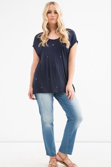 T-shirt pura viscosa strass Curvy, Blu navy, hi-res