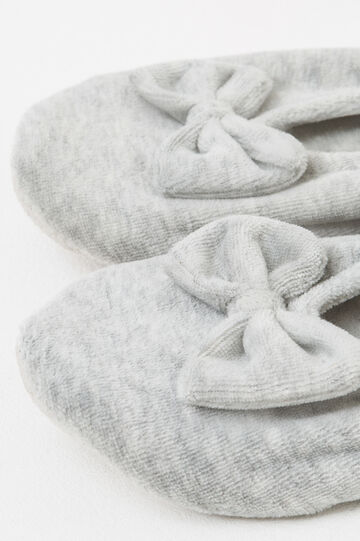 Ballerina flat slippers with bow, Grey, hi-res