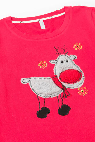 Stretch cotton pyjamas with reindeer pattern, White/Red, hi-res