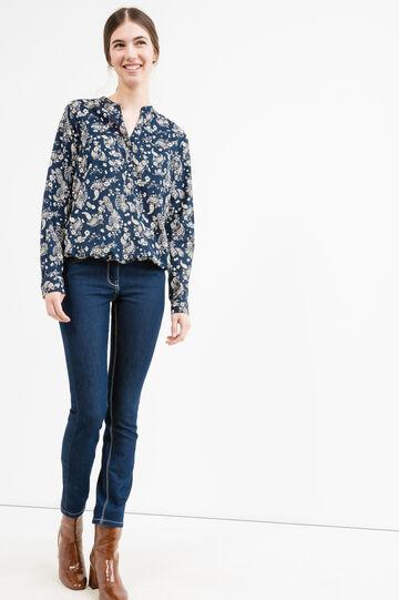 100% cotton V-neck blouse, Blue, hi-res