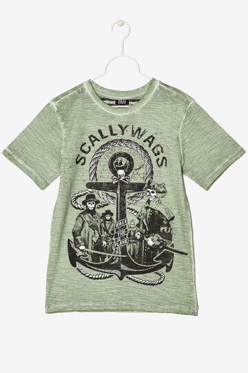 T-shirt mélange con stampa, Verde chiaro, hi-res