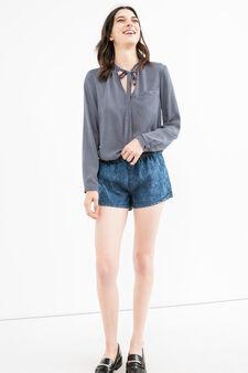 Regular fit denim shorts with misdyed-effect, Dark Blue, hi-res