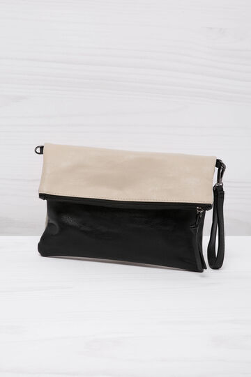 Two-colour leather look clutch bag, White/Black, hi-res