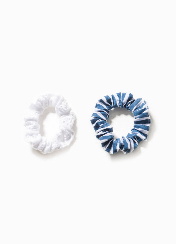 Two-pack patterned and embroidered hair elastics   OVS