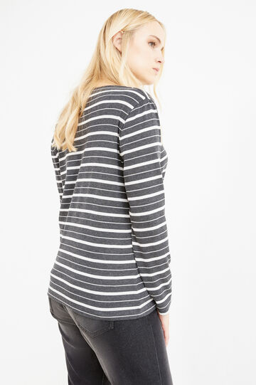 Curvy T-shirt with striped pattern, Grey, hi-res