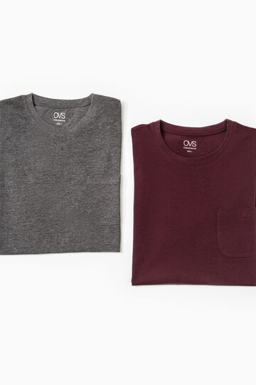 Two-pack undershirts with chest pocket, Grey Marl, hi-res