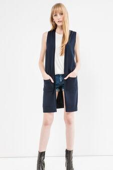 Long viscose blend sleeveless cardigan., Navy Blue, hi-res