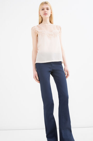 Top with openwork neck