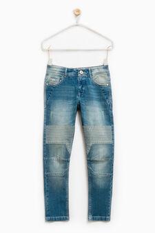 Jeans skinny fit stretch used, Blu chiaro, hi-res