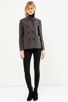 Coat with asymmetrical opening, Dark Grey Marl, hi-res
