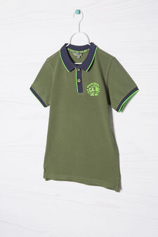 100% cotton polo shirt with small print, Army Green, hi-res